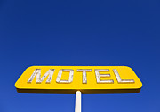 Advertise Framed Prints - Yellow Neon Motel Sign Framed Print by David Buffington