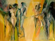 Dancing Girl Paintings - Yellow Nudes by Barbara Wilson