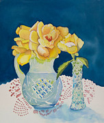 Crystal Pitcher Framed Prints - Yellow on Blue Framed Print by Jeanne Hall