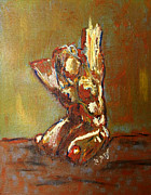 Bold Abstact Paintings - Yellow Orange Expressionist Nude Female Figure Statue Coming Alive Bold Anatomy Painting by MendyZ M Zimmerman