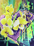 Texture Floral Painting Prints - Yellow Orchids of the Heart Print by Kathy Braud