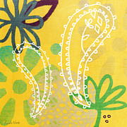 Purple Flowers Mixed Media Posters - Yellow Paisley Garden Poster by Linda Woods