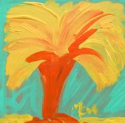 Expressionist Drawings - Yellow Palm by Mary Carol Williams