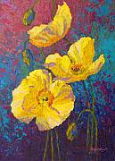 Poppies Posters - Yellow Poppies Poster by Marion Rose