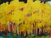 Autumn Trees Drawings Posters - Yellow Refreshment Poster by John  Williams