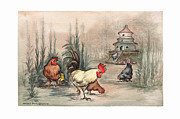 Cocks Prints - Yellow Rooster Pagoda Print by Nancy Pahl