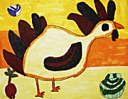 Stripe Drawings Originals - Yellow Rooster Still by Stephanie Ward