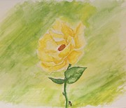 Painted Paintings - Yellow Rose by Marsha Heiken