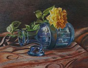 Earth Tones Drawings - Yellow Rose on Blue by Mary Jo Jung