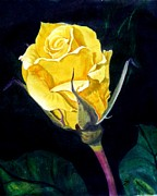 Flower Tapestries - Textiles Prints - Yellow Rose The Original Print by Sylvie Heasman