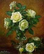 Glass Vase Framed Prints - Yellow Roses Framed Print by Albert Williams