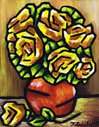 Toronto Artists Framed Prints - Yellow Roses Framed Print by Kamil Swiatek