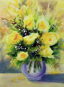 Abstract Floral Art Paintings - Yellow Roses by Kathy Braud