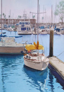 Boats Painting Posters - Yellow Sailboat Oceanside Poster by Mary Helmreich