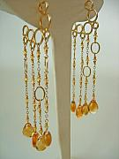 Mermaid Jewelry Originals - Yellow Sapphire And Citrine Mermaid Bubble Hoops by Adove  Fine Jewelry