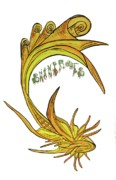 Swimmer Drawings - Yellow Scroll Fish With Swamp Roots Logo by Tory  Tunes