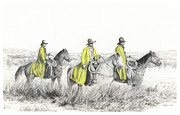 Cowboy Sketches Framed Prints - Yellow Slickers Framed Print by Jack Schilder