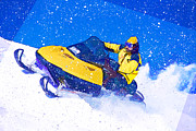 Sports Paintings - Yellow Snowmobile in Blizzard by Elaine Plesser