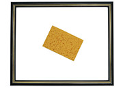 Inside Of Prints - Yellow sponge inside picture frame Print by Sami Sarkis