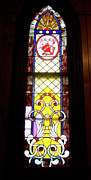 American Glass Art Framed Prints - Yellow Stained Glass Window Framed Print by Thomas Woolworth