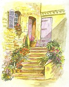Restaurant Drawings Prints - Yellow Steps Print by Carol Wisniewski