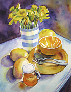 Grapefruit Painting Prints - Yellow Still Life Print by Susan Herbst