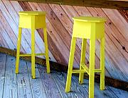 Stools Prints - Yellow Stools Print by Debbi Granruth