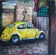 Beatle Framed Prints - Yellow Streets Framed Print by Molly Markow