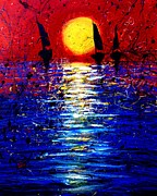 Famous Fish Abstract Paintings - Yellow Sun by Artist  Singh