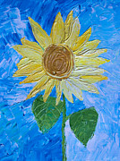 Heidi Painting Posters - Yellow Sunshine Poster by Heidi Smith