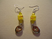 Wire Earrings Jewelry Posters - Yellow Swirl Follow Your Heart Earrings Poster by Jenna Green