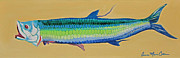 Tarpon Posters - Yellow Tarpon Poster by Anne Marie Brown