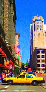 Highrise Building Prints - Yellow Taxicab Crossing Powell Street In San Francisco Print by Wingsdomain Art and Photography