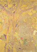 Leaf Spring Posters - Yellow Tree Poster by Odilon Redon