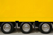Traffic Tapestries Textiles Prints - Yellow Truck Print by Carlos Caetano