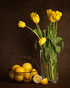 Lemons Framed Prints - Yellow Tulips and Lemons Framed Print by Heather Swan
