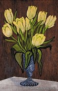 Folkartanna Paintings - Yellow Tulips by Anna Folkartanna Maciejewska-Dyba