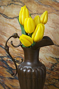 Pitchers Posters - Yellow tulips in brass vase Poster by Garry Gay