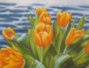 Tulips Paintings - Yellow Tulips Sparkling Water by Karen Coombes