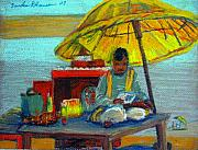 Temple Pastels - Yellow Umbrella by Art Nomad Sandra  Hansen