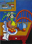 Teapot Painting Originals - Yellow Vase with Blue Teapot by Nicholas Martori