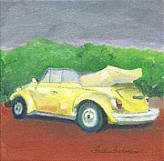 Faith Frykman Posters - Yellow Volkswagen Ragtop Poster by Faith Frykman