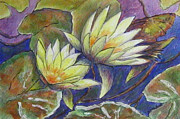 Waterlilies Mixed Media Posters - Yellow Waterlilies Poster by Diane Quee