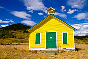 Colorado Western Gallery Posters - Yellow Western School House Poster by James Bo Insogna