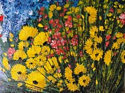 Pallet Knife Prints - Yellow with flowers Print by Shilpi Singh