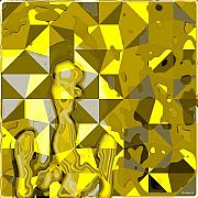 Op Art Digital Art Posters - YellowCubeNude Poster by Dieter Bruhns
