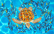 Sea Turtle Tapestries - Textiles Posters - Yellowfin Frenzy Poster by Daniel Jean-Baptiste