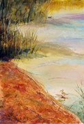 Waterfowl Paintings - Yellowlegs Two...Coots One. by John Ressler