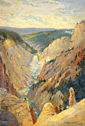 Yellowstone Paintings - Yellowstone Falls and Hoodoos by Lewis A Ramsey