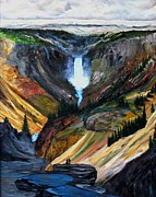 National Parks Paintings - Yellowstone Falls by Troy Rohn